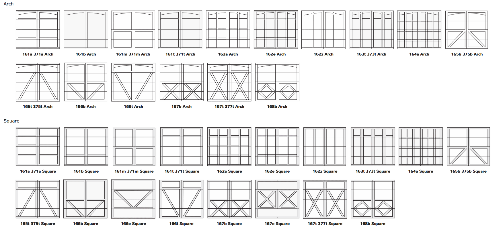 the panel designs shown above are for 7' high doors  please consult your  distributor for a drawing before making your selection if your door is over  8' high